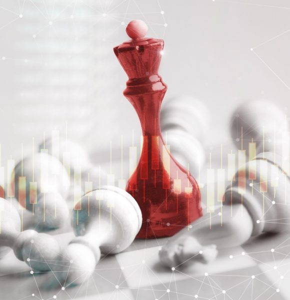 Business Win And Success. Red Chess Queen Beats Whites On Chessboard Over Gray Background. Panorama, Collage With Data Graphs